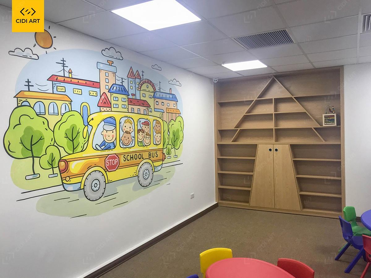 Vẽ tranh tường mầm non phòng sinh hoạt của bé