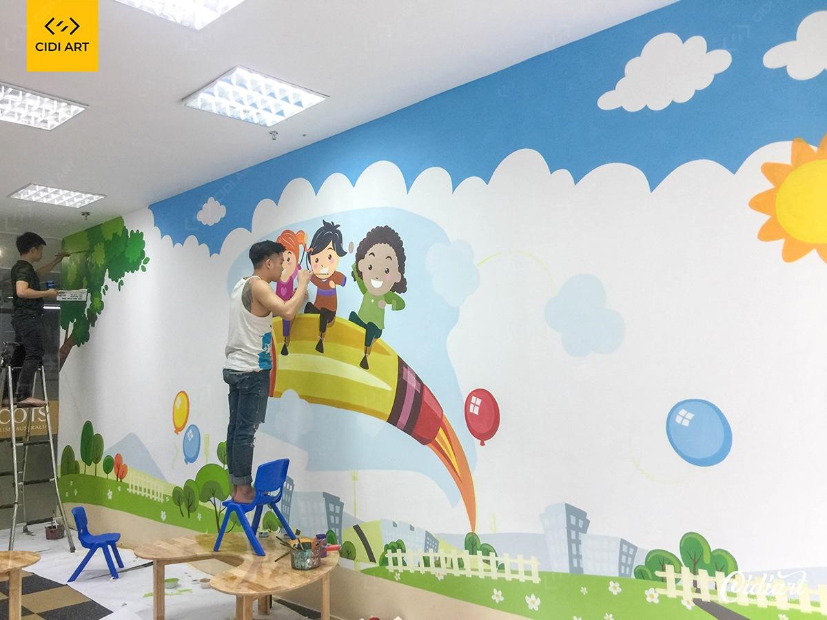 Vẽ tranh tường mầm non tại trường mầm non thành phố Hà Nội